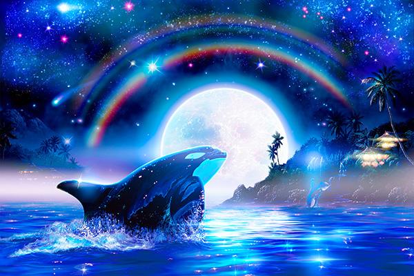 イルカの絵 海の絵